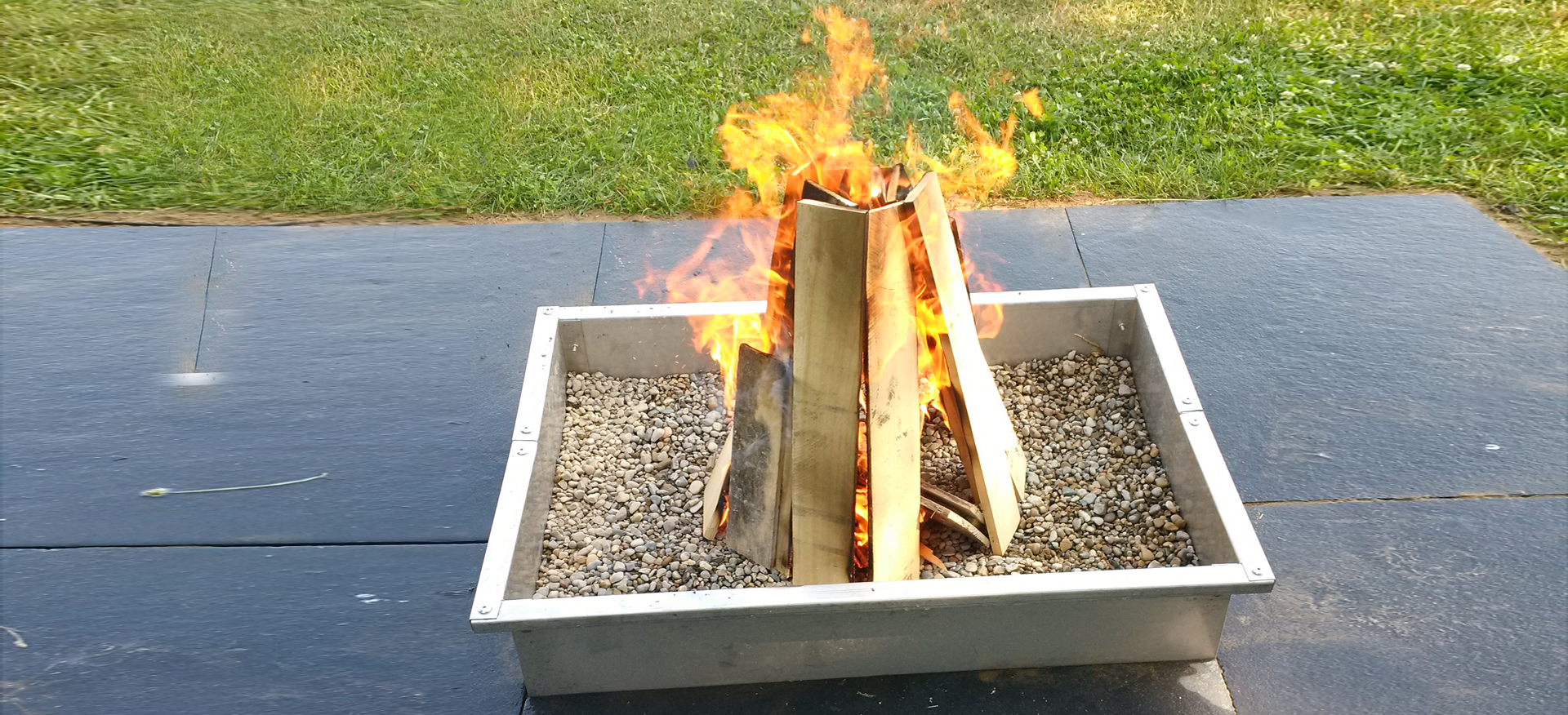 Modern Square Stainless Steel Fire Pits available nationwide through EHS Sales Ltd. and approved dealers