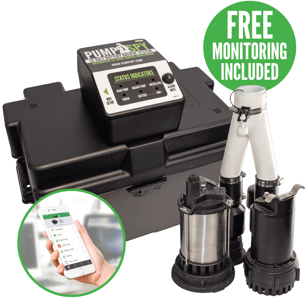 PumpSpy, battery status, backup sump pump, sump pump, flooding, water damage, basement flooding, prevent flooding, monitoring system